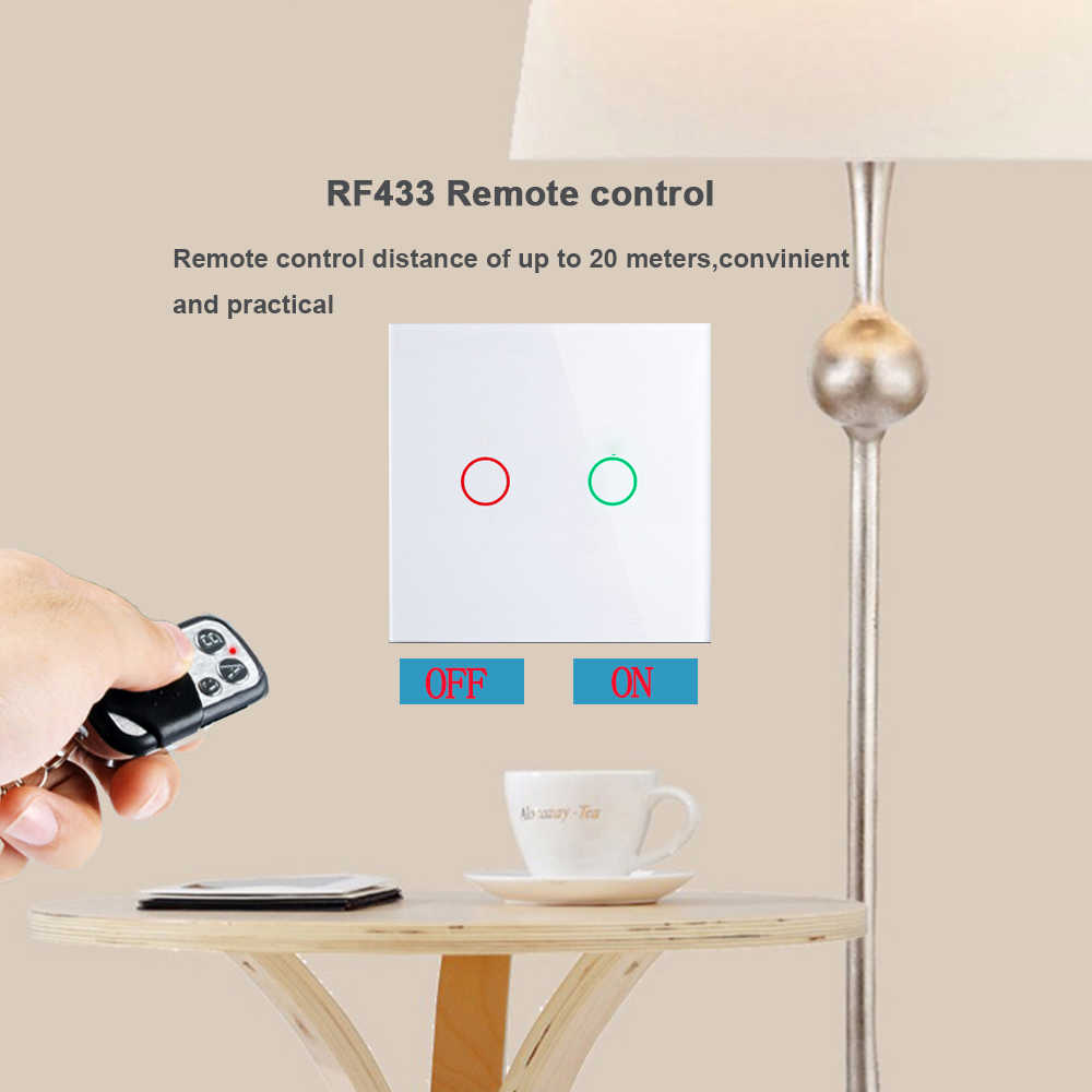 Eu/UK Standard Wall Switch, 1/2/3 Gang 2 Arah Panel Kaca Kristal 220V Single Fireline RF433 Remote Control Touch Lampu switch