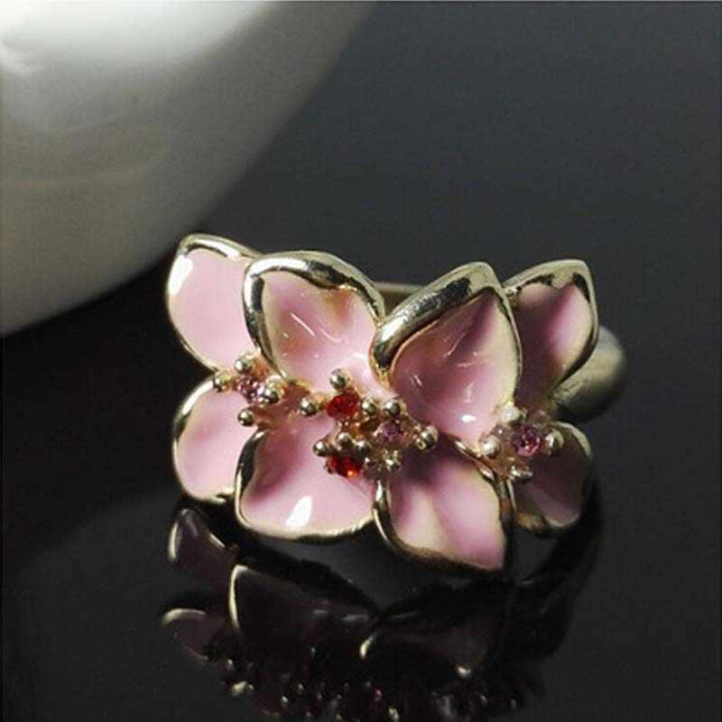 Hotting ขายเครื่องประดับแหวน Rose Gold สีออสเตรียคริสตัลสีดำเคลือบดอกไม้สำหรับผู้หญิง JZHL027