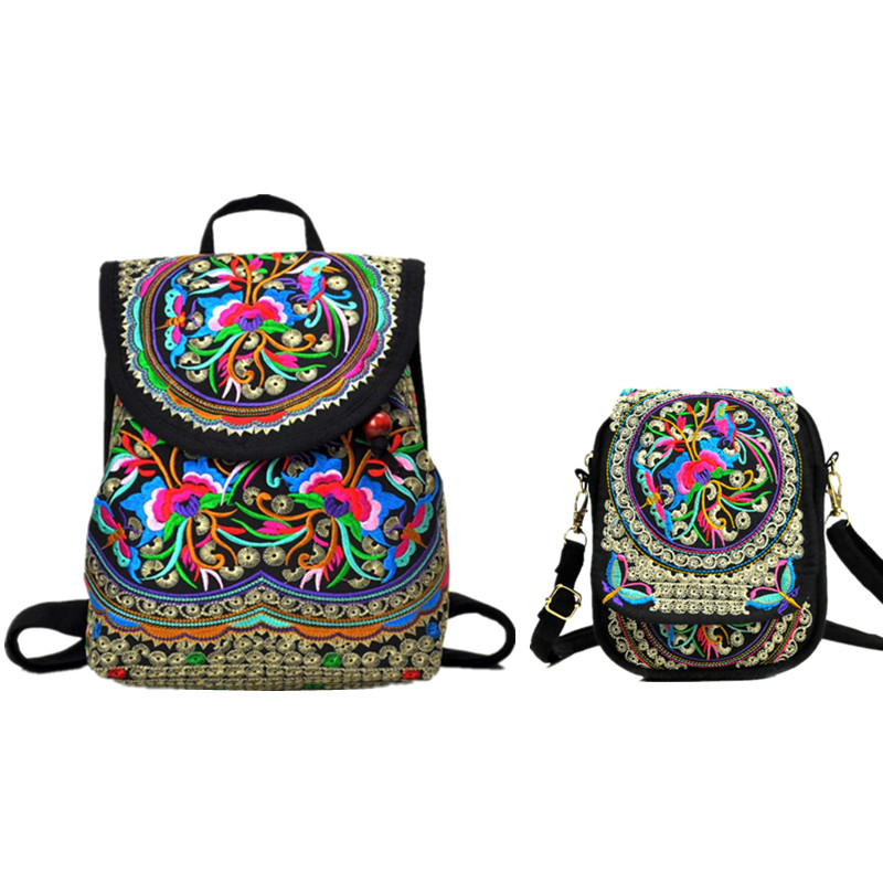 Women Vintage Embroidery Backpack Female Shoulder Bag Chinese National Style Handmade Canvas Backpack Girls Travel School Bag
