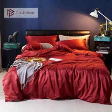 Liv-Esthete Luxury Wine Red Silk Bedding Set Silky Duvet Cover Flat Sheet Pillowcase Bed Linen Double Queen King For Adult