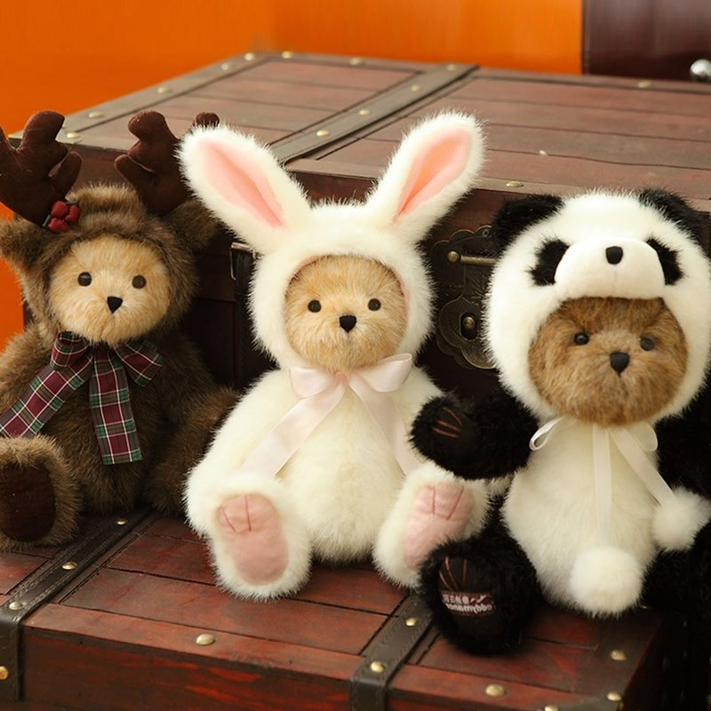 cute retro Panda teddy bear plush stuffed toys, plush joint Rabbit becomes teddy bear doll kids toys birthday Christmas gift