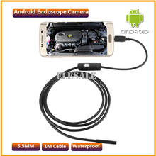 5.5mm 1M Cable Waterproof Endoscope Camera Module 6LED OTG USB Android Endoscope Inspection Underwater Fishing For Windows PC