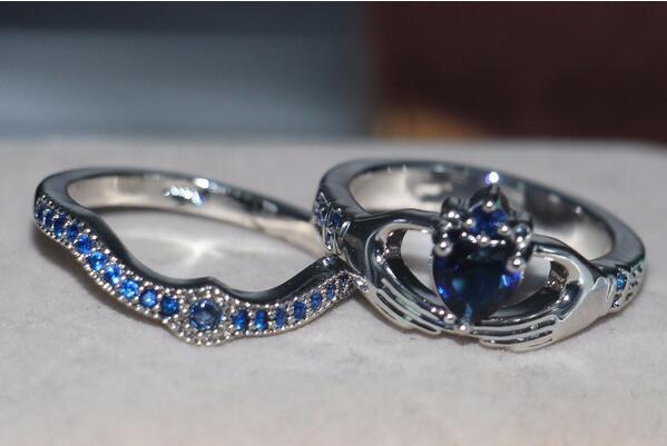 Blue Birthstone claddagh ring 3