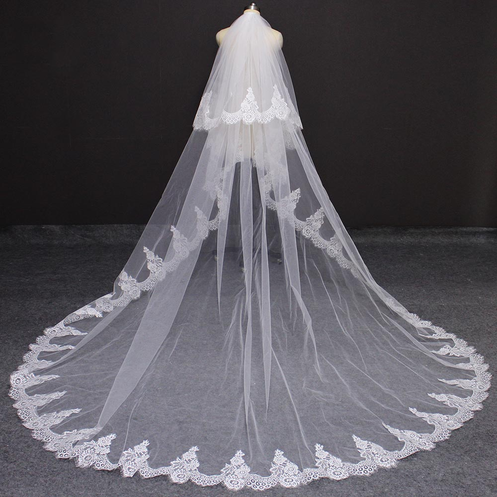 High Quality 2 Layers Eyelash Lace Wedding Veil 3M Long 2T Bridal Veil With Comb Voile Mariage 2019 Wedding Accessories