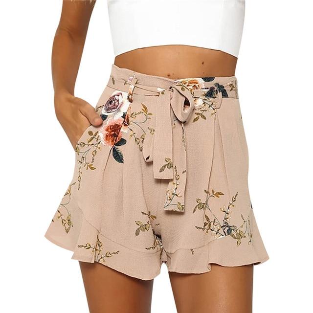 High Waist Ladies Pleated Floral Skirts 2018 Summer Mini Boho Shorts Skirts For Women Korean Fashion Sexy Ruffle Jupe Femme