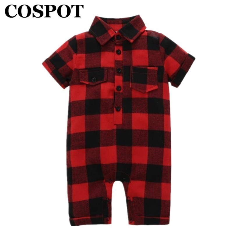 COSPOT Baby Boys Girls Jumpsuit Summer 2018 New Red Plaid Short Sleeved Cotton Romper Body Suit Newborn Infant Bebes Clothes 30E