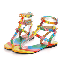 sunny everest Summer colorful rivets Roman toe sandals flat shoes  women's women Womans Shoes 35-45