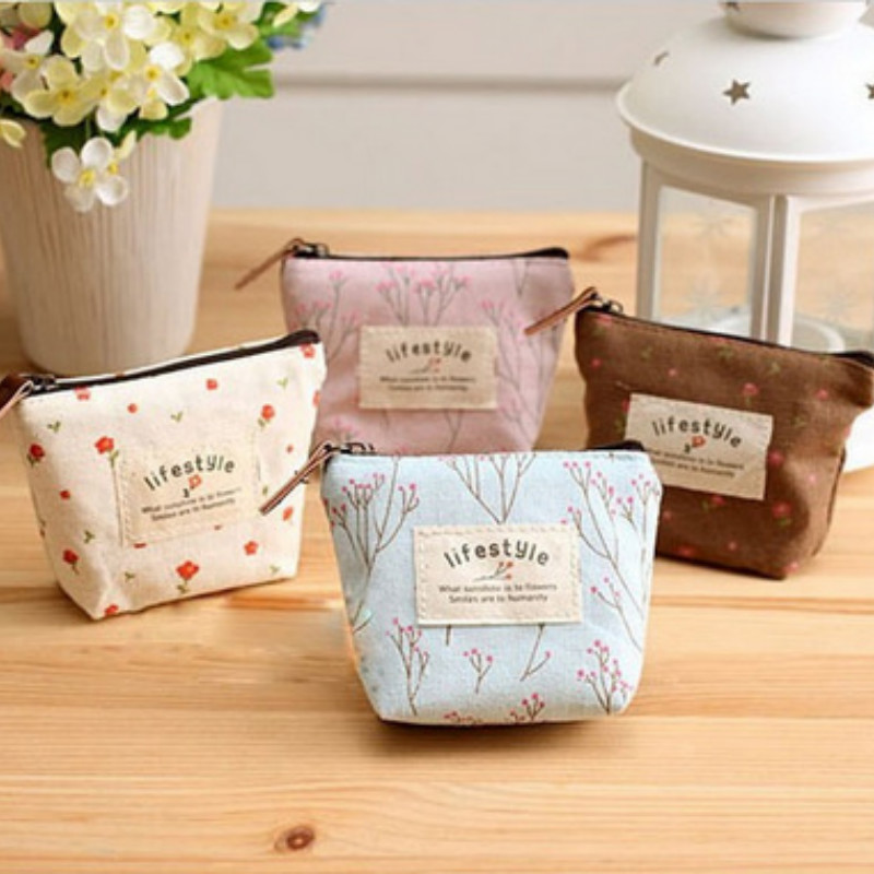 Fashion Mini Canvas Womens Purse Casual Metal Frame Wallet Flower Floral Printing Small Lady Clutch Cubby Case Zipper 4 Colors