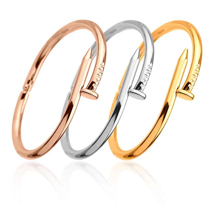 299fee371797 Tornillos brazalete de uñas Pulseras de cobre para mujer Pulsera de oro  joyería de acero inoxidable