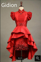 Real pictuer sheath red short cap sleeve high low cocktail dress heavily beading crystals petite cocktail gowns hot sale
