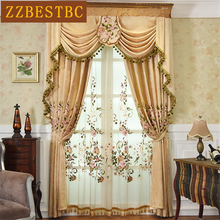 High quality European luxury villa embroidered living room curtains beige modern fashion high curtain for bedroom hotel