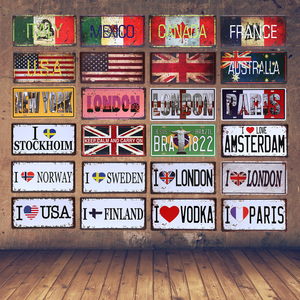 The National Flag Car License Plate France Australia London Brazil Vintage Tin Sign Italy Mexico Canada Wall Art Metal Poster(China)