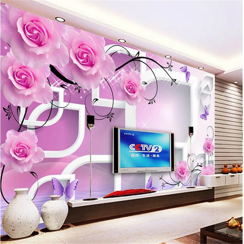 beibehang Custom photo wallpaper wall stickers large frescoes rose pattern reflection 3d stereoscopic television background