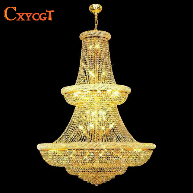 120cm Luxury Big Europe Large Gold Luster Crystal Chandelier Light Fixture  Classic Light Fitment for Hotel c2490be1e696