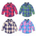 Baby Boys Girls British Plaid Shirt Kids Spring Autumn Cotton London Style Shirt Children Bottom Wear Blouse Free Shipping