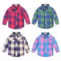 Muchachas de Los bebés de Tela Escocesa Británica Camisa Kids Primavera Otoño Camisa de Algodón Del Estilo de Londres Niños Desgaste Inferior de La Blusa Envío Gratis