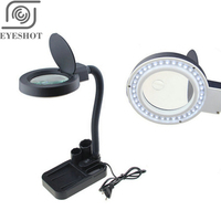 Wholesale Multi function Magnifying Crafts Glass Desk LED Lamp 5X &10X Magnifier 40 LED Light With Pen holder Durable