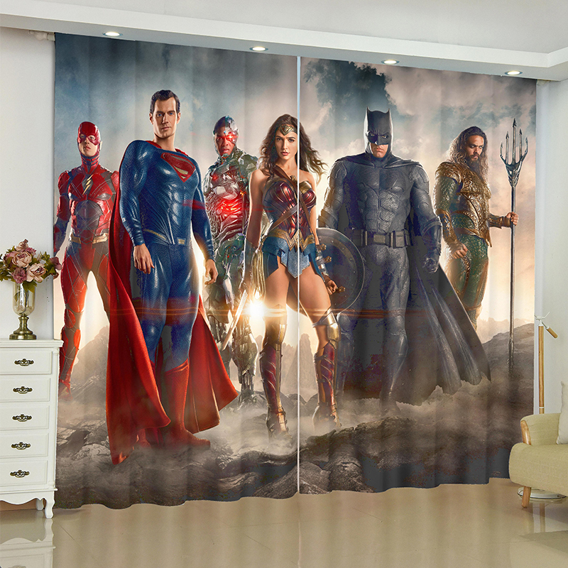 The Avengers curtains for window Marvel iron Man Batman blinds finished drapery rideaux curtain parlour room blackout curtains