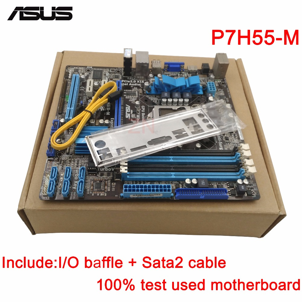 original Used Desktop motherboard For ASUS P7H55-M H55 Support LGA1156 I7 I5 I3 Maximum 4*DDR3 16GB 6*SATA II u ATX Main Board цены