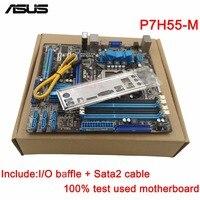 original Used Desktop motherboard For ASUS P7H55 M H55 Support LGA1156 I7 I5 I3 Maximum 4*DDR3 16GB 6*SATA II u ATX Main Board