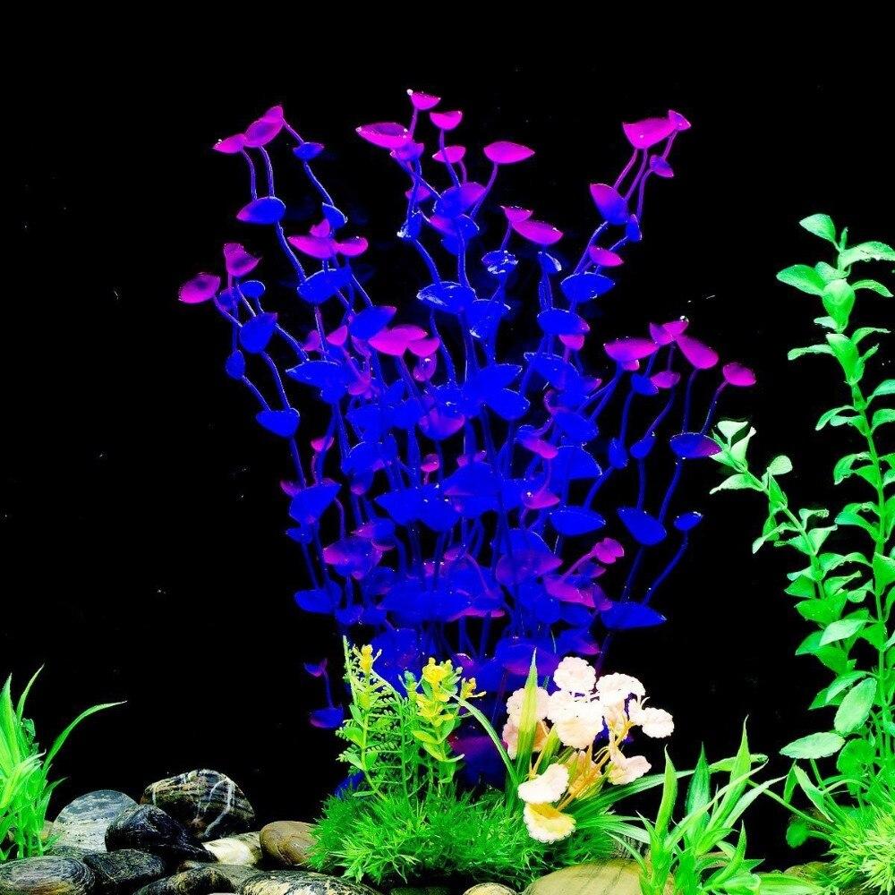 2 pcs Artificial Aquarium Fish Tank Plastic Plant Decoration Ornament 11-Inch