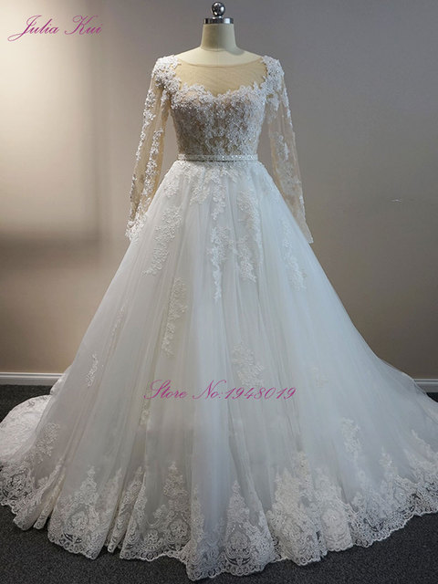 Julia Kui Elegant Floral Print A line Embroidery Tulle Wedding ...