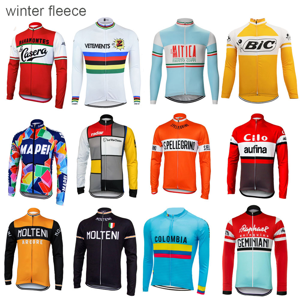 Winter fleece cycling jersey man long sleeve bike wear thermal Windproof cycling clothing ropa Ciclismo Multiple