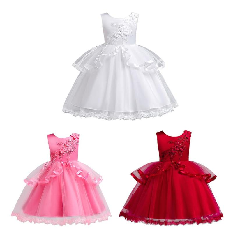 Elegant Embroidery Embellishment Ball Gown Traditional: Elegant Girls Embroidery Flowers Ball Gown Kids O Neck