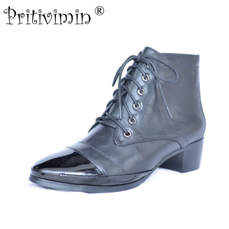 2018 winter ladies warm plush lining short ankle boots women cow patent leather thick low heel pointed toe  shoes Pritivimin FN5
