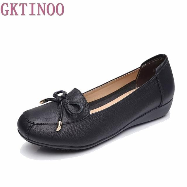 00ad7ec649f 2018 New Fashion Women Shoes Genuine Leather Flat Shoes Woman Bow Single Casual  Shoes Maternity Work Shoes Women Flats