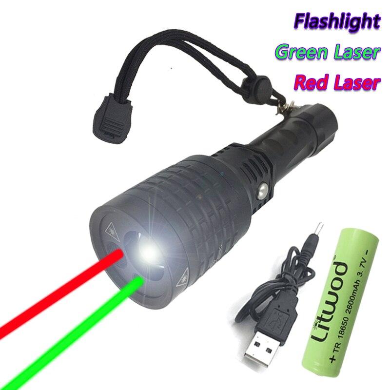 2 in1 tragbare Taschenlampe 7 LED rot Laser Taschenlampen Aluminiumlegierun