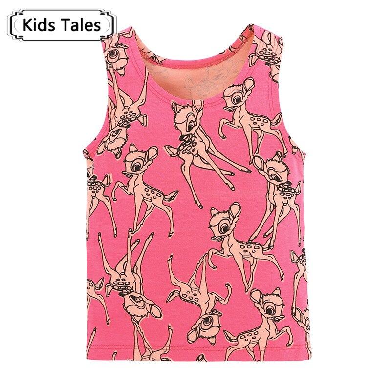 Summer 2018 Cute Deer Printed Baby T-shirts Newborn Baby Girls Boys Tees Baby Sleeveless Vest Toddler Bebe Tops SC064