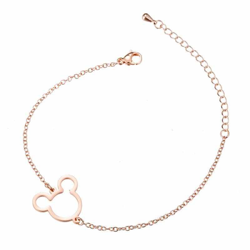 Yiustar Mouse wisiorki z motywami zwierząt Mickey bransoletki i Bangles kobiety biżuteria ze stali nierdzewnej mysz z kreskówki prezent na boże narodzenie bijoux femme
