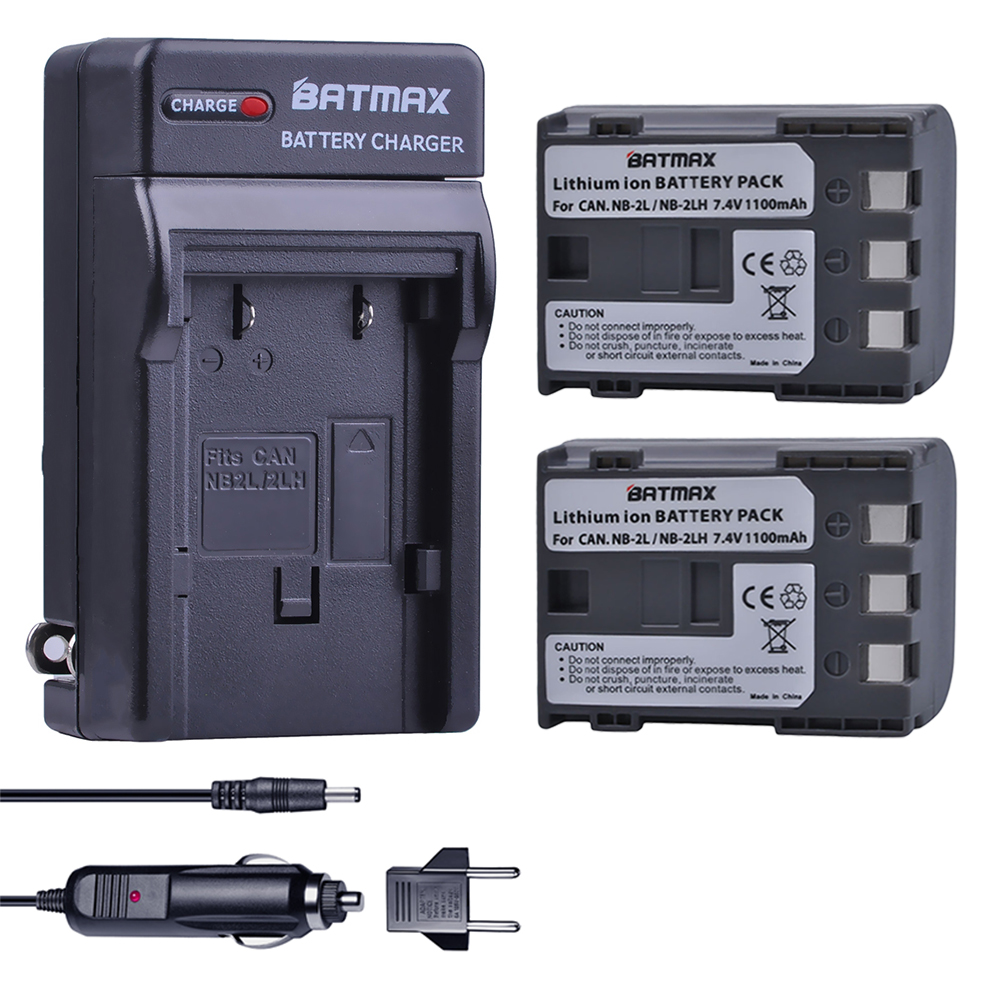 2Pcs NB-2L NB 2L NB2L NB-2LH BP-2L5 1100mAh Rechargeable Li-ion Battery & Charger for CANON camera 350D 400D G7 G9 S30 S40 z1 image