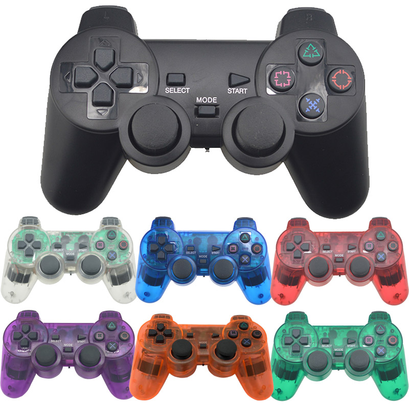 Transparent Color Bluetooth Wireless Controller For Sony Playstation 2 Gamepad 2.4G Vibration Controle For Sony PS2 Joystick wired controller for sony playstation 2 gamepad double vibration clear controle for sony ps2 joystick hot sale transparent color