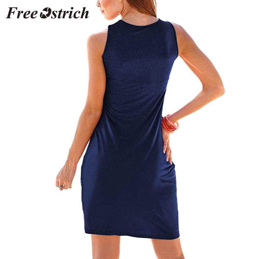 Free Ostrich 2019 Women Summer Sexy Solid Sleeveless Straight Pleated  Casual Mini Dress Home Style Tank Dress Hot Sales New