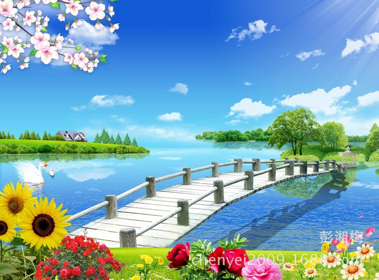 Natural Scenery Wallpaper Mural Wall Stickers Tv Backdrop Of