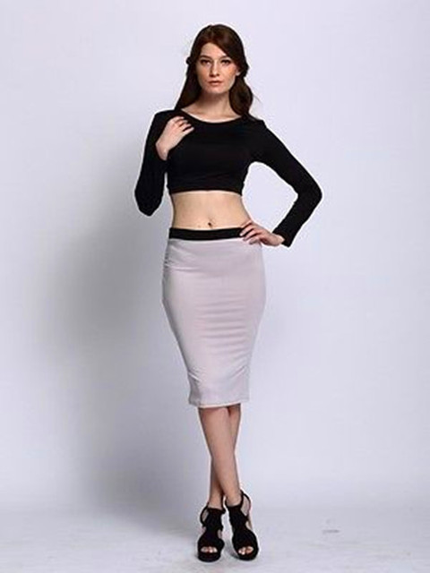 aa4e0d3b6d51d Sexy Crop Top Midi Pencil Skirt Ladies High Waist Long Sleeve Bodycon  Bandage Dress Set Party Clubwear Set