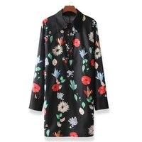 Women Vintage Floral Print Dress Long Sleeve Turn Down Collar Female Straight Spring Mini Dresses Vestidos