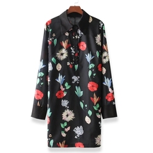 Women vintage floral print dress long sleeve turn down collar female straight spring mini dresses vestidos