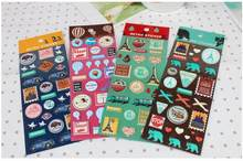 1pack/lot Retro travel 3D sticker Epoxy children Stickers DIY Multifunction Deco label office and school supplier(China)