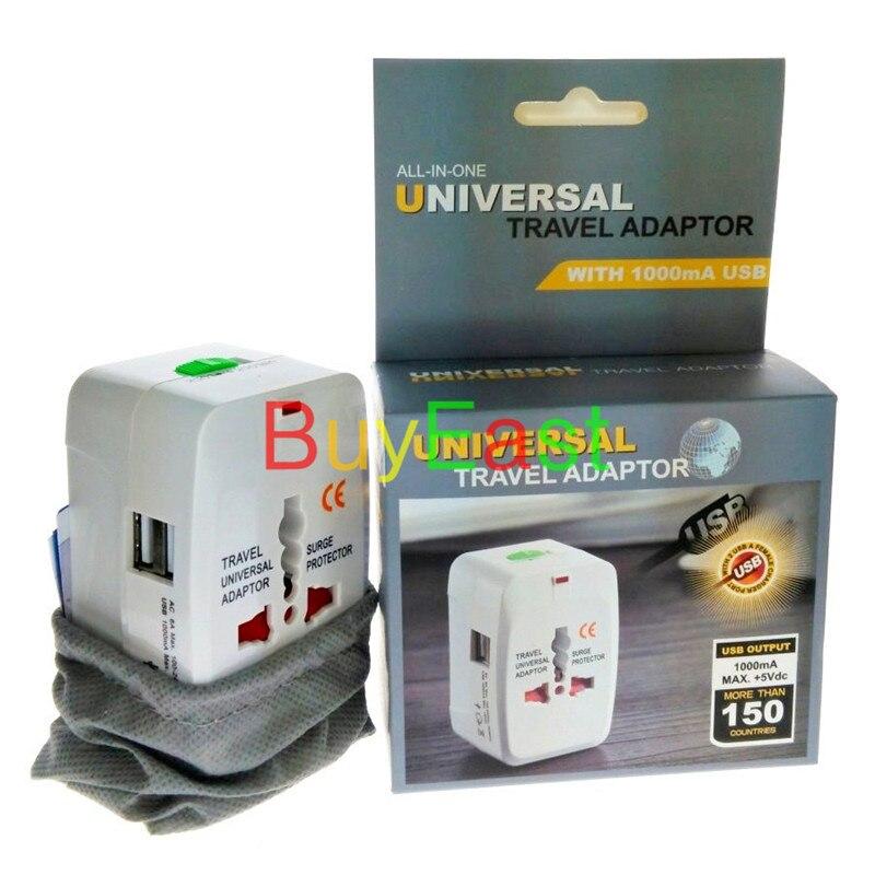 2 USB Зарядное устройство 5 В 1A универсальная путешествия переходник Выход conver AU/США/ЕС/UK/ китай/Япония ..... во всем мире