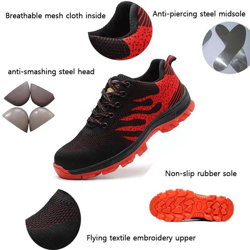 Prova Malha pink Antiderrapante Blue Tecido Ao Nova red Segurança Exposição De Respirável Primavera Calçado Ar Homens Livre Punção Tenis Casual Sneaker À Calçados RqqwxcYaU1