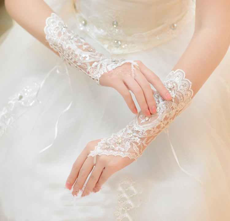 White Ivory Fingerless Rhinestone Lace Sequins Short Wedding Gloves Wedding Accessories