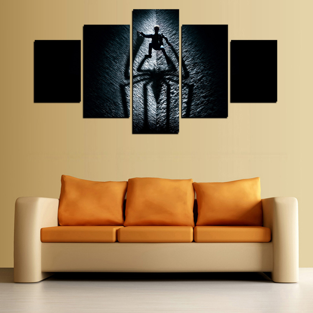 HD Canvas Spider Man Clim In Dark Night On The Wall Painting On ...