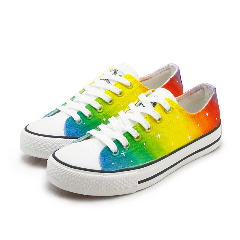 Rainbow Shoes Women Fashion harajuku Lovers Rainbow Canvas Shoes Lace up Adult Casual Colorful Shoes Woman platform Flat 34-44