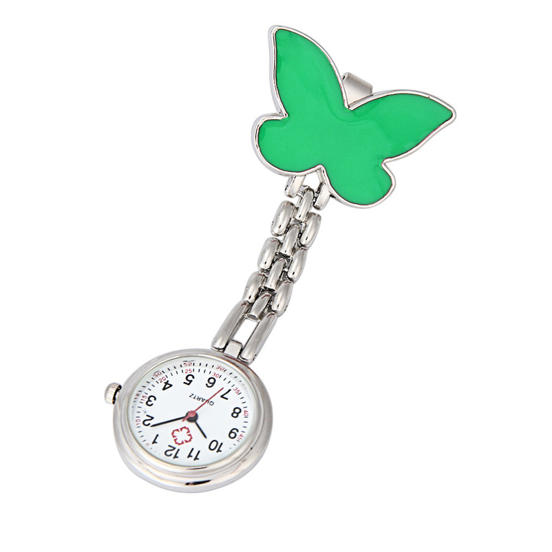 Excellent Quality Pocket Medical Nurse Fob Watch Women Dress Watches Clip-on Pendant Hanging Quartz Clock Butterfly Shape