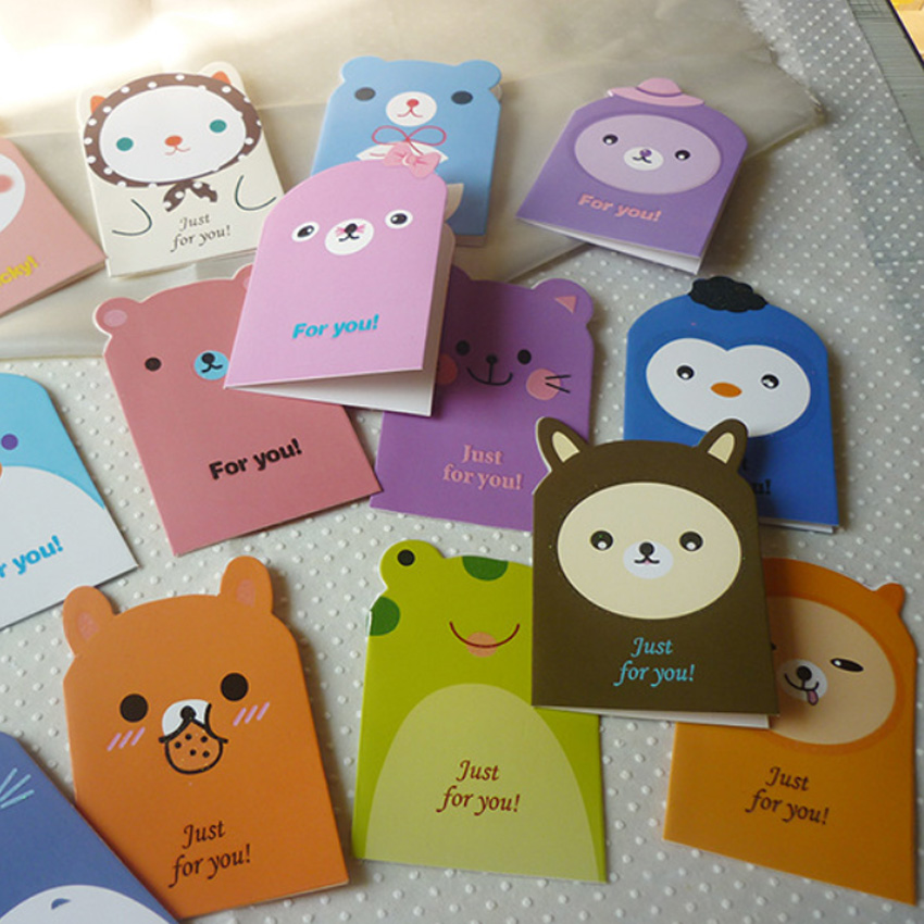 5Pcs/lot Cartoon Animal Mini Greeting Card  Birthday Bussiness Gift Cards Funny Students' Gift Office School Stationery Supply