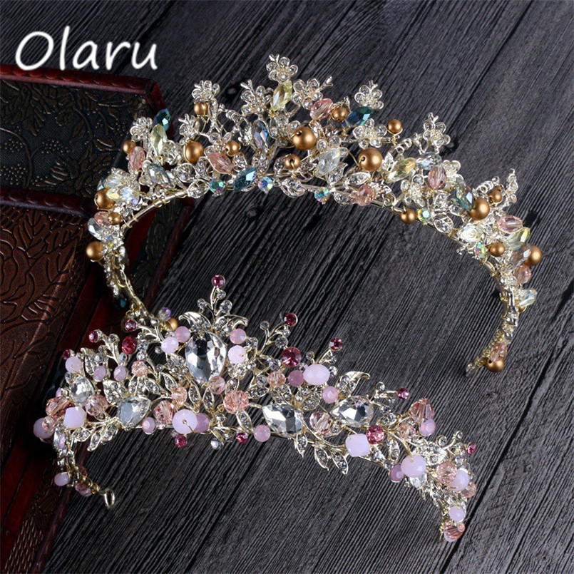 Olaru Good Quality Gold Pleatd Crystal Queen Flower Crown Bridal Wedding Jewelry Tiara Crown Vintage Headband Accessories Gift