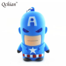 Movie The Avengers Alliance Keyrings Superhero Newest 3D Plastic Captain America LED Flashlight Keychain Sound Keyring Light